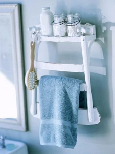 A chair becomes a towel rack and shelf. Courtesy of the blog, Twisted Sifter.
