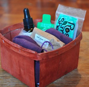 A strawberry container upcycles into a linen closet organizer.