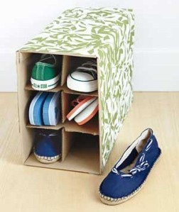 An old wine box transforms into shoe storage.  Courtesy of Twisted Sifter.